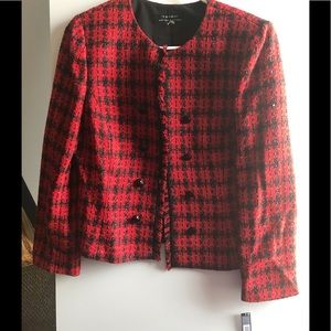 Red and black blazer jacket